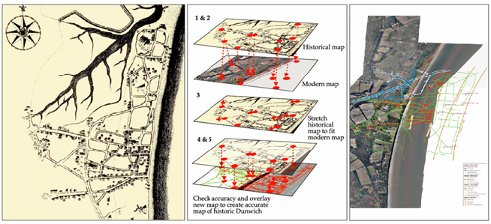 Figure 1: The process of geo-rectifying historic maps to bring them in to modern coordinate systems.